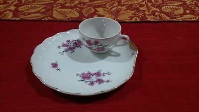 VTG Fine Bone China Japan Hand Painted by Lefton Snack Gld Trm Plate and Cup Set