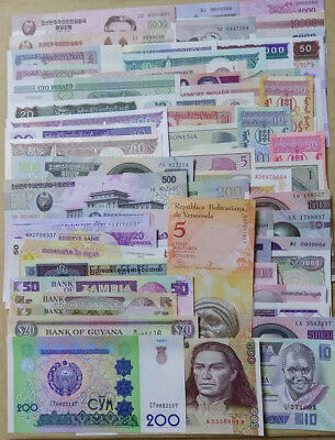 Lot 100 PCS From 30 Countries Different Banknotes World Paper Money Currency,UNC