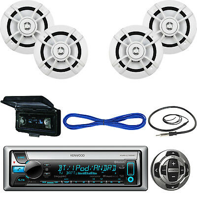 "Kenwood Bluetooth CD USB Boat Radio w/ Remote,6.5""Speakers w/Wires,Antenna,Cover"