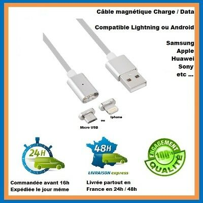 Câble magnétique charge/Data  Micro USB/Lightning Android / iPhone / Samsung