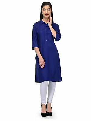 WomenClassic Collar Half Sleeve Royal Blue Cotton A Line Tunic Tops Size S-7XL