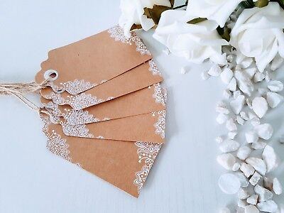10 x Kraft Brown & White Lace Luggage Tags for Weddings, Gifts, Place/Name Cards