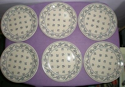 "Six Laura Ashley Johnson Brothers Petite Fleur Blue Ironstone 8"" Plates"