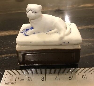 Antique Victorian Small Porcelain Box With Pug Dog Moulded Lid