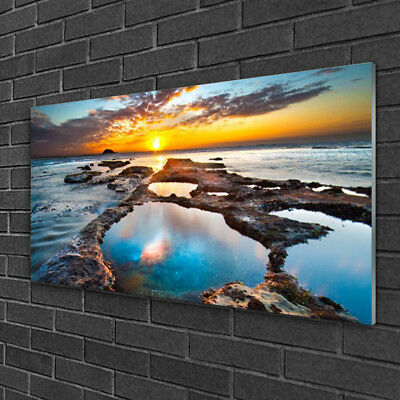 image sur verre acrylique tableau impression 100x50 paysage coucher soleil mer eur 69 95. Black Bedroom Furniture Sets. Home Design Ideas