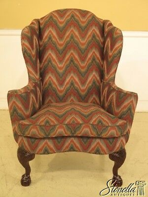 29361E: SHERRILL Flame Stitched Claw Foot Mahogany Wing Chair