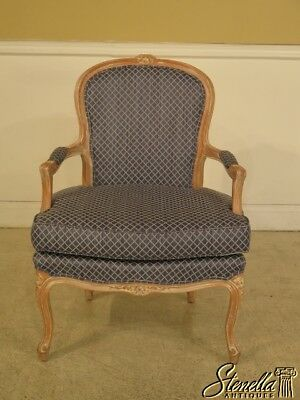 29010: French Louis XV Style Fauteuil Open Arm Chair w New Upholstery