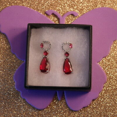 Stunning Silver Earrings With Pink Tourmaline & White CZ 7 Gr.3.8 Cm.Long In Box