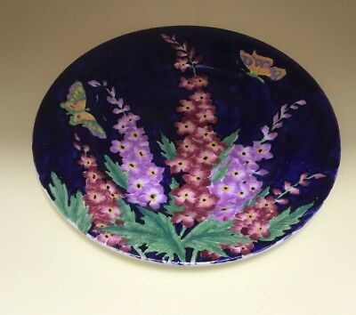 Large Vintage 1930's Maling Delphinium Tube Lined Decorative Plate