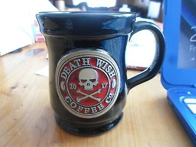 DEATH WISH COFFEE MUG Small version 2016 stamp BLACK WITH DW LOGO. DENEEN. NEW!
