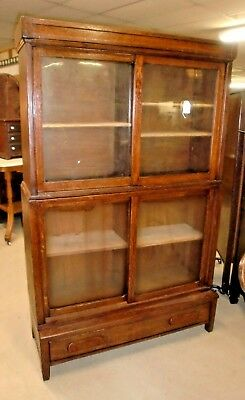 Antique Danner Oak Barrister 2 Stack Bookcase with Top and Base with Drawer