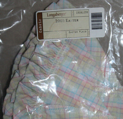 New Longaberger 2005 Easter  Fabric Liner For  Basket In Easter Plaid