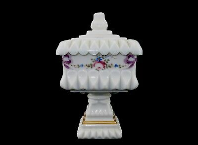 Vintage Westmoreland Covered Candy Dish~ Hand Painted Floral Milk Glass, 1950s