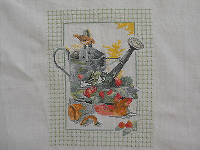 vintage cross-stitch hand-embroidered wall hanging Sparrow, water can, flowers