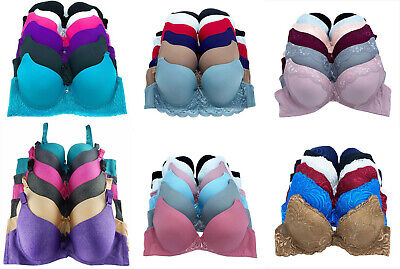 6 piece Pack Women Full Cup Patterned Lace Push Up PUSHUP B+C Cup Bra