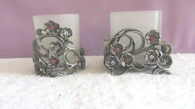 2 Partylite JEWELS Pewter Round & Square Votive Candle Holders Austrian Crystals