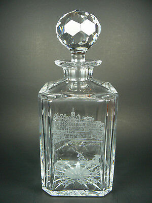 NEAR MINT Edinburgh Castle Thistle CRYSTAL DECANTER Etched Watermark Scotland