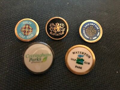 5  x Assorted Stem Golf Ball Markers From Northern English  Golf Clubs