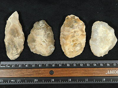 Lot of FOUR! 55,000-12,000 Year Old Early Man Aterian Arifacts Algeria! 120gr e