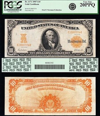 AWESOME Bold & Crisp VF+ 1907 $10 *GOLD CERTIFICATE*! PCGS 20PPQ! FREE SHIPPING!