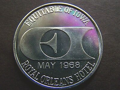 1968 EQUITABLE OF IOWA+ROYAL ORLEANS HOTEL Plain Aluminum Mardi Gras Doubloon