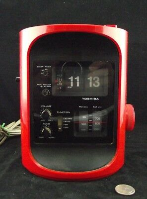 Vintage Red  Toshiba Rc-693F  Clock Radio Space Age Style ! Flip Style