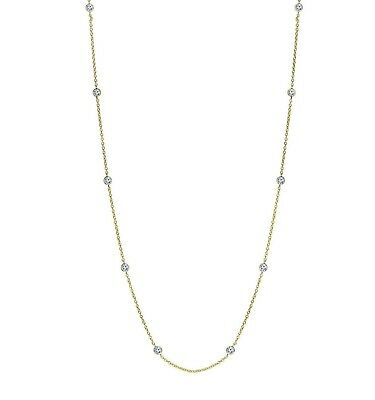 Bezet Bezel Set CZ by the Yard Cable Chain Necklace 14K Yellow Gold Clad Silver