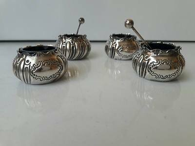 Set of 4 English Sterling Silver Salt Cellars And 2 Spoon J Sherwood & Sons 1903