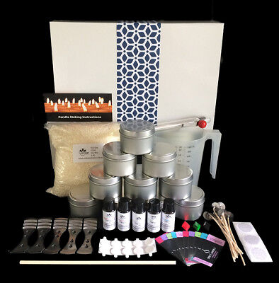 NEW High Quality Soy Candle Making Kit with Jug,Tins,Thermometer,Colour, Labels