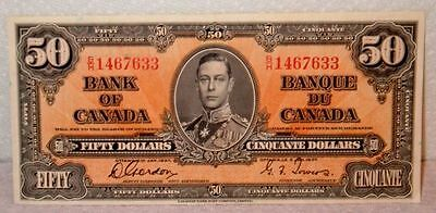 1937 Fifty Dollars Bank of Canada Gordon-Towers Banknote AUC to UC Condition