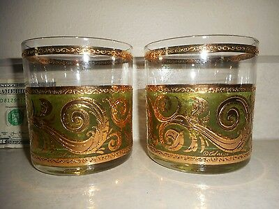 "Vintage Pair (2) Signed Culver Ltd 3.25"" Green & 22K Gold Swirl Lowball Glasses"