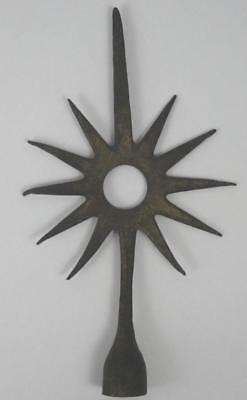 VTG Antique Brass 11 Point Star Sunburst Lightning Rod Weathervane Finial Top
