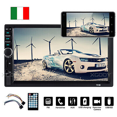 "7"" 2 DIN Autoradio Touch Screen Bluetooth MP5 MP3 Stereo Player FM/USB/SD/AUX IT"