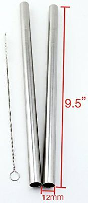 """2 SUPER WIDE Stainless Steel 9.5"""" Long x 1/2"""" Wide Drink Straw Smoothie Thick"""