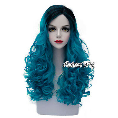 Lolita Turquoise Blue Mixed Black Long 60CM Curly Fashion Cosplay Wig + Wig Cap