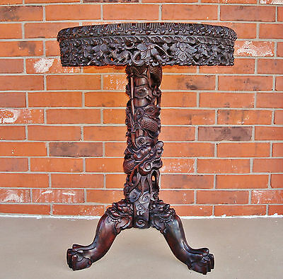 19th C. Chinese Carved Dragon Hongmu Wood Table with Scalloped Edge Marble Top