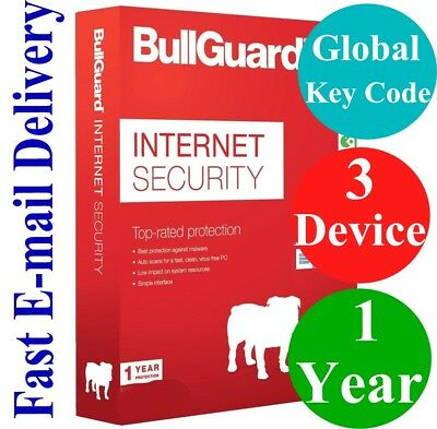 BullGuard Internet Security  3 Device / 1 Year (Unique Global Key Code) 2019