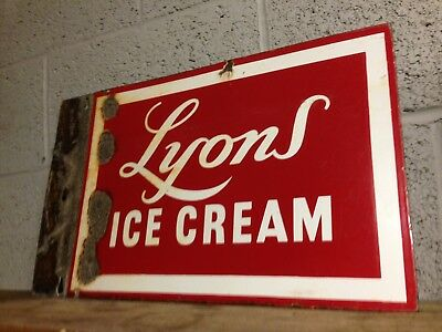 Very Rare Lyons Ice Cream Enamel Double Sided Sign Antique