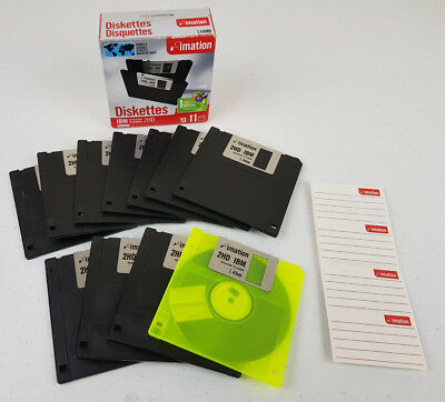 Imation 1.44Mb IBM Formatted 2HD Blank Floppy Diskettes 10 + 1 Neon - New