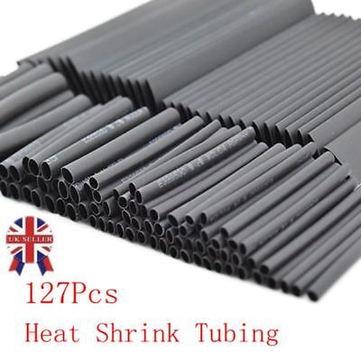 127PC Black Heat Shrink Tubing Kit Wire Electrical Assortment Sleeving Tube