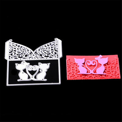Cat Greeting Card Metal Cutting Dies Stencils For Scrapbooking DIY Albums DecorH