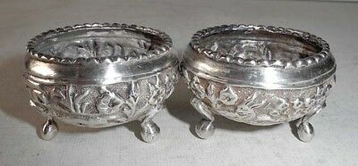 END 19th EARLY 20th CENTURY PAIR OF SILVER OPEN SALT ASIA OR INDIA