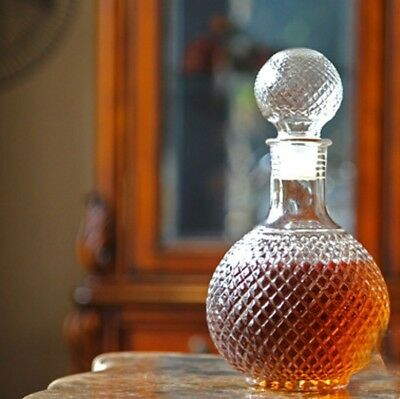 Embossed Glass Carafe 1000ml Decanter Liquor Whiskey Wine Crystal Bottle Scotch