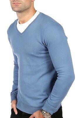 Men's V Neck Pullover Jumpers Sweater Premium 100% Cotton