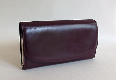 Burgundy Large All Leather 1960s Vintage Coin Purse Wallet Brass Toned Frame