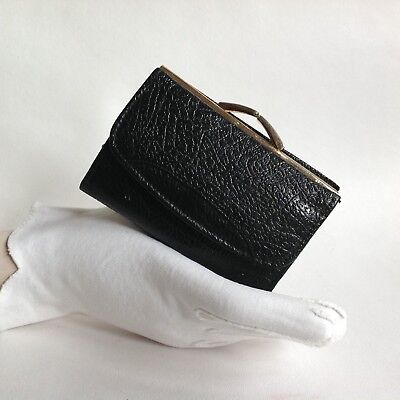 Churchill Black Leather 1960s Vintage Coin Purse Wallet Leather & Fabric Lining