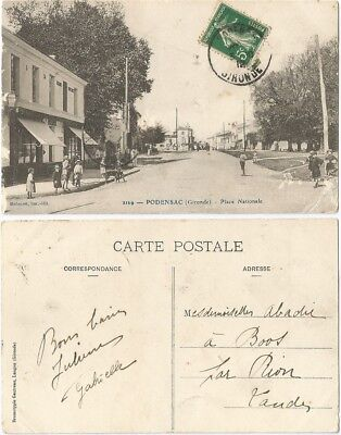 CPA Bédouret 1912 postcard commerces Place Nationale PODENSAC 33 Gironde [276 R]