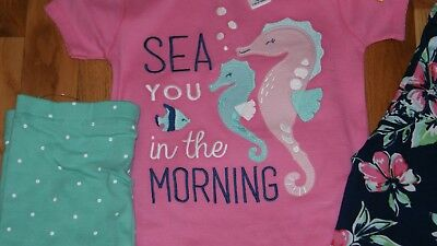 Girls Pajamas 3 Piece  Set New With Tags Carters Size 5 Sea You In The Morning