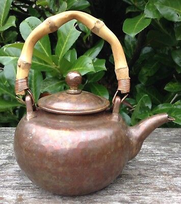 Vintage Antique Small Hammered Copper Teapot With Bamboo Handle 2