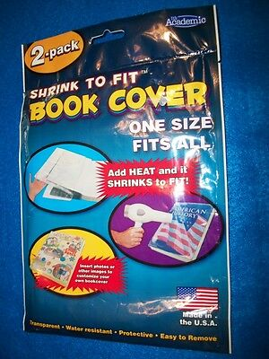 Book Covers  Shrink to Fit  2/Pack  Transparent 1 size fits all, Easy to Remove